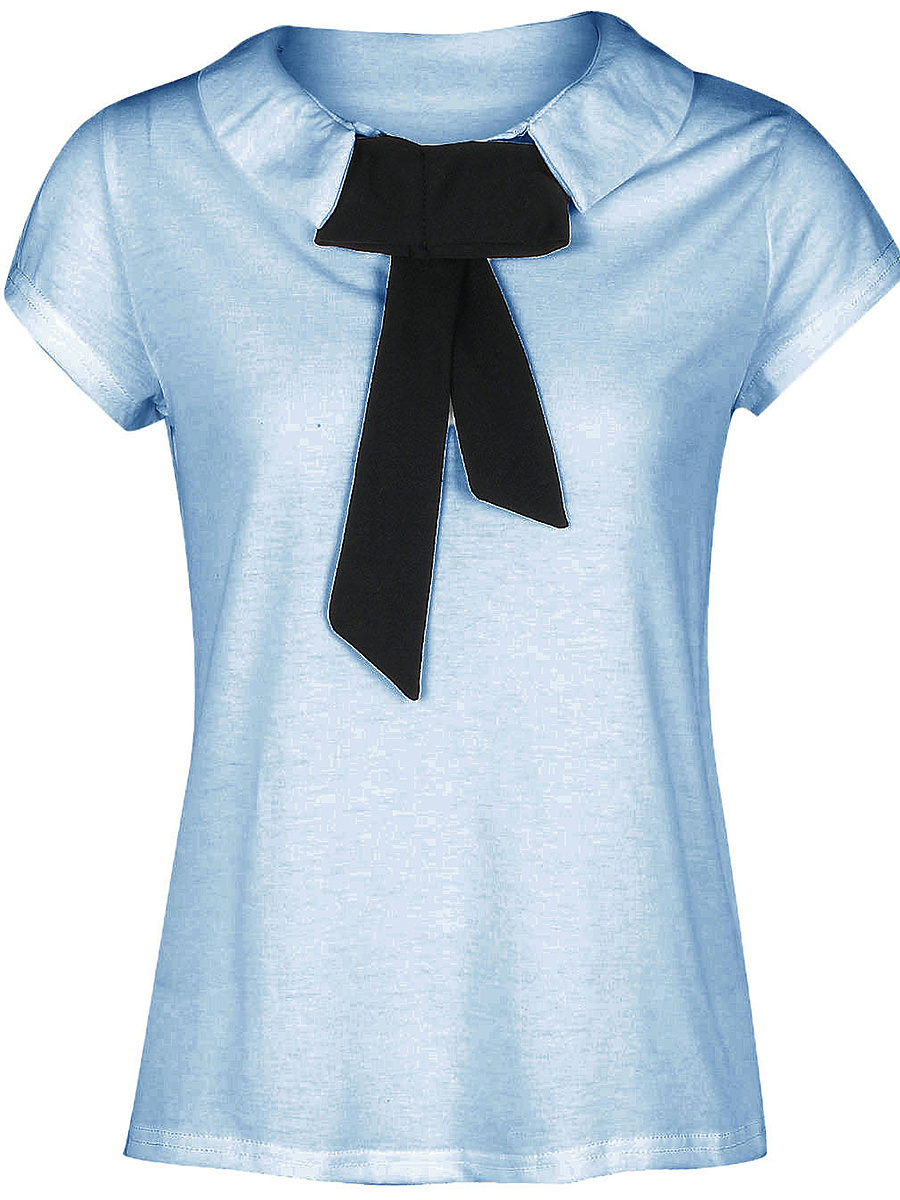 Doll Collar Contrast Bowknot Short Sleeve T-Shirt