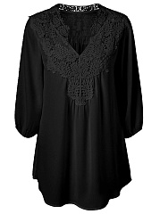 Split Neck Decorative Lace Plain Blouse
