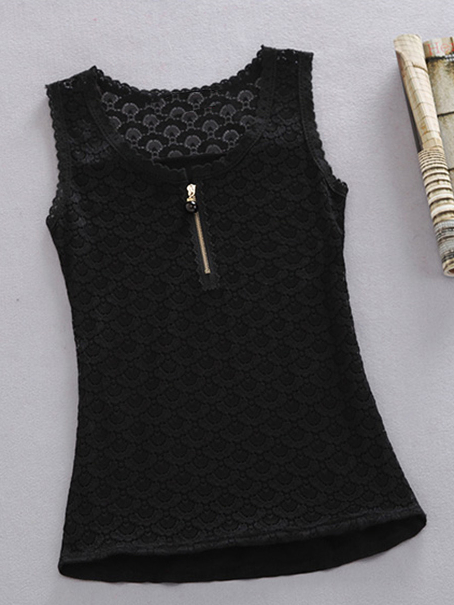 Round Neck  Zips  Hollow Out Plain Sleeveless T-Shirt