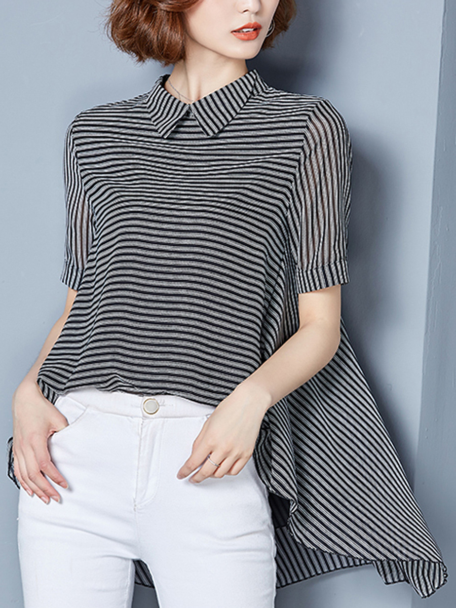 Doll Collar Striped High-Low Blouse
