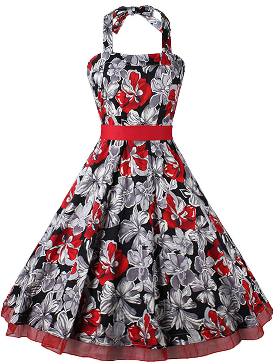 Exquisite Halter Bowknot Skater Dress In Floral Printed