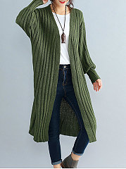 Collarless  Striped  Puff Sleeve  Long Sleeve Cardigans