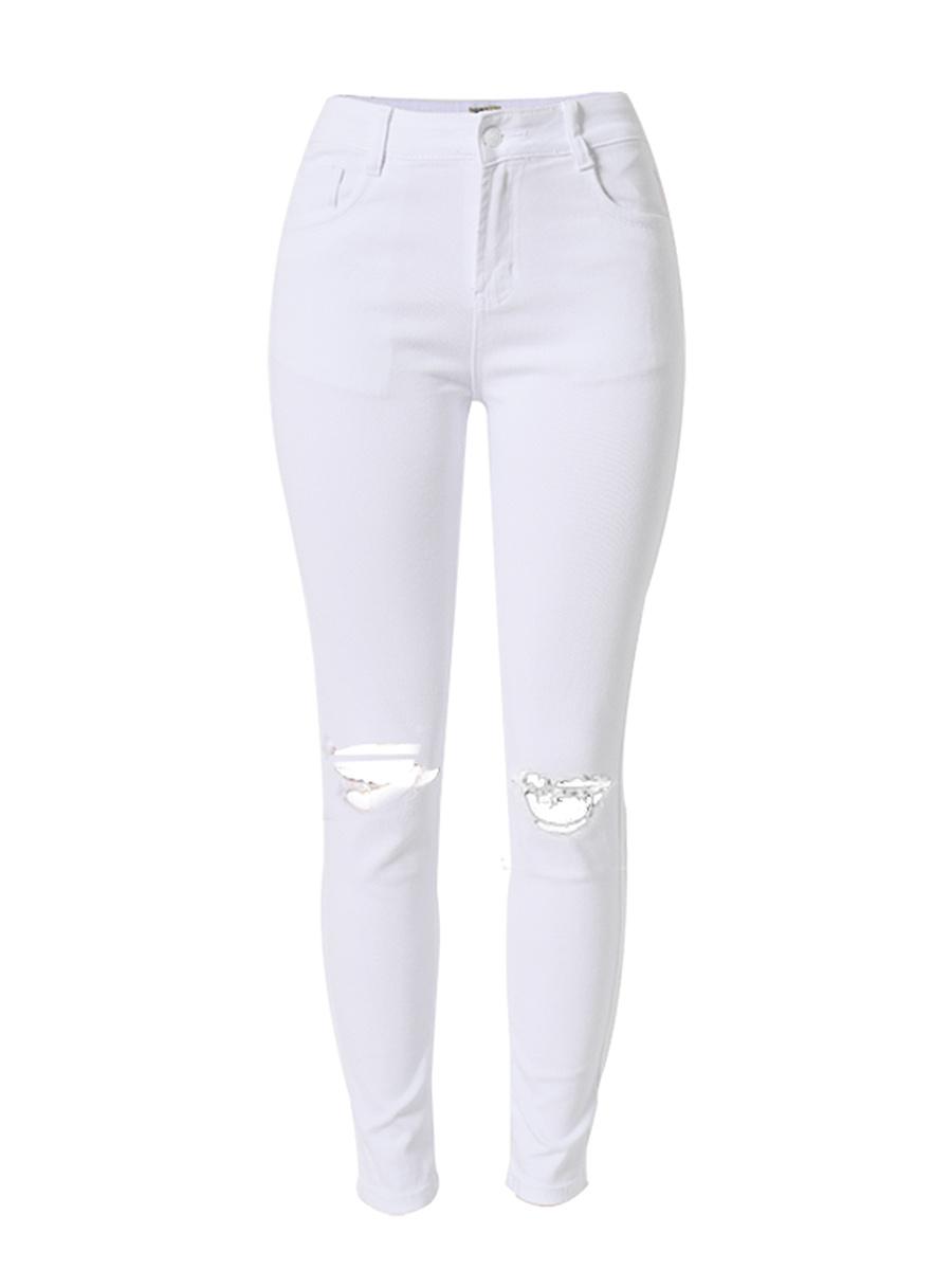 White Ripped Plain Slim-Leg High-Rise Jean