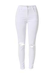 White Ripped  Plain  Slim-Leg  High-Rise Jean