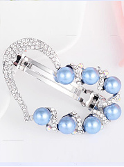Lucky Love Pearls Rhinestone Elastic Head Clip