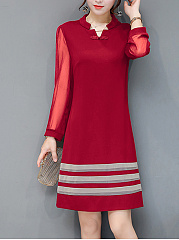 Split Neck See-Through Color Block Striped Shift Dress
