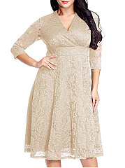 V-Neck  Lace Plain Hollow Plus Size Flared Dresses