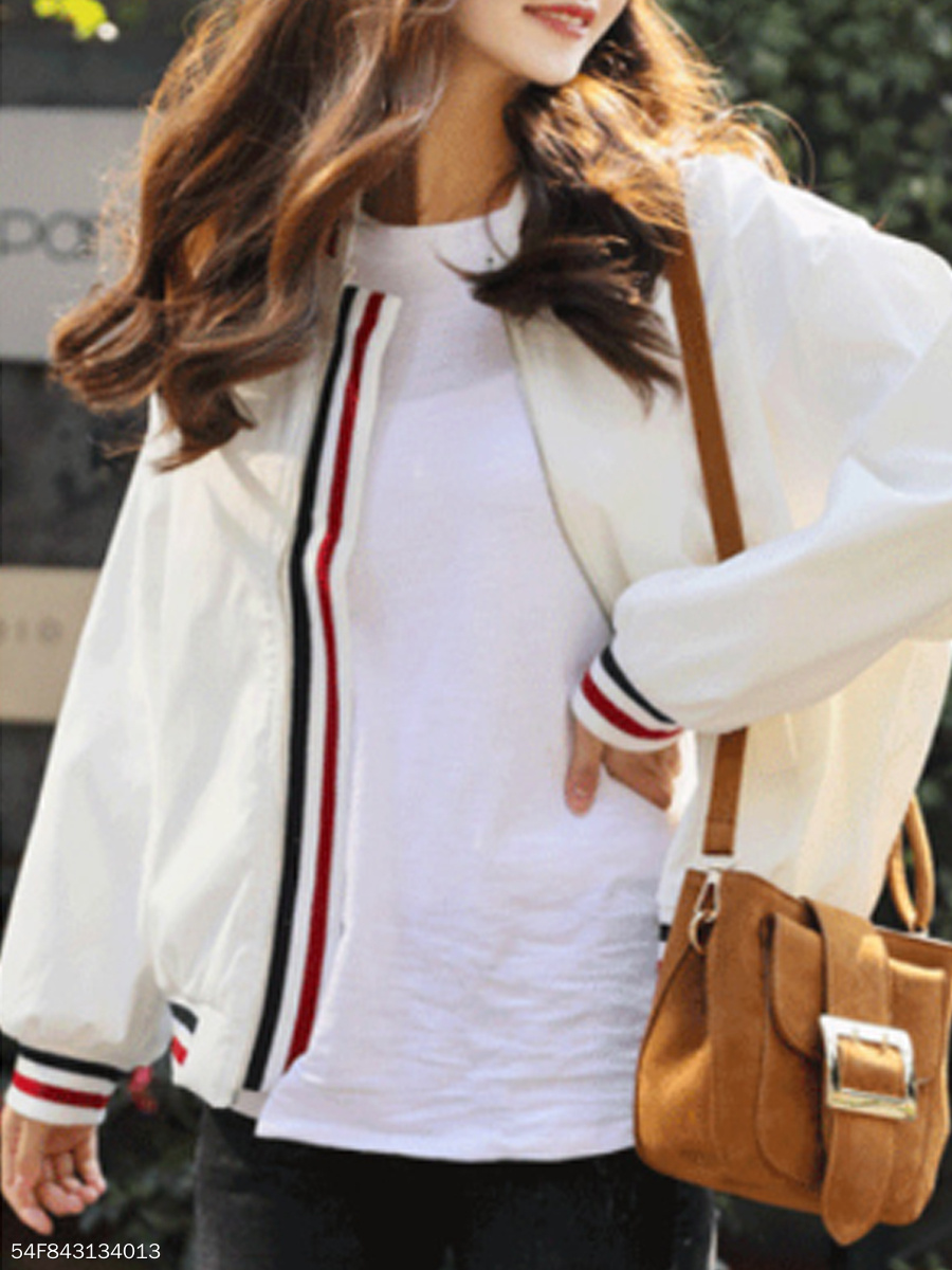 Collarless  Contrast Piping  Plain  Long Sleeve Jackets