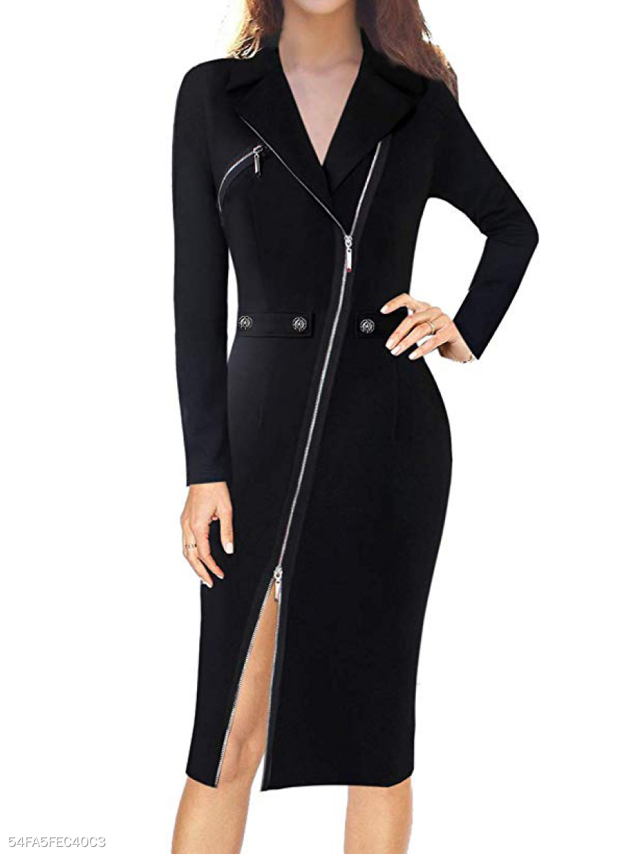 Fold-Over Collar  High Slit Zips  Decorative Button  Plain Bodycon Dress