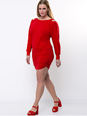 Open Shoulder Back Hole Solid Plus Size Bodycon Dress