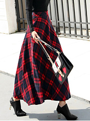 Plaid-Flared-Pocket-Woolen-Maxi-Skirt