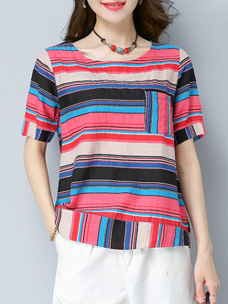 Multi-Color Striped Short Sleeve T-Shirt