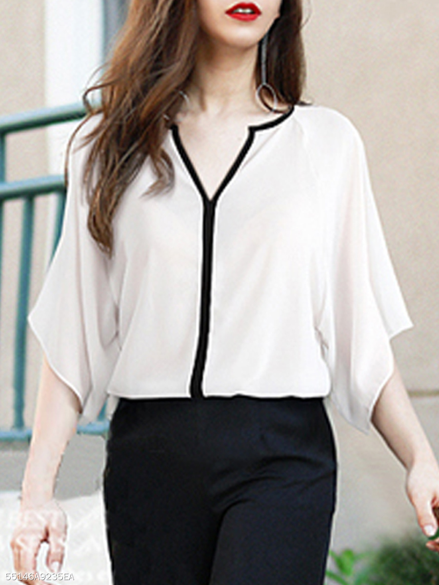 Spring Summer  Polyester  Women  V-Neck  Contrast Piping  Plain  Batwing Sleeve  Half Sleeve Blouses