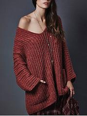Oversized-Deep-V-Neck-Patch-Pocket-Plain-Sweater