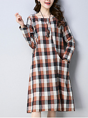 Round Neck  Printed  Cotton/Linen Shift Dress