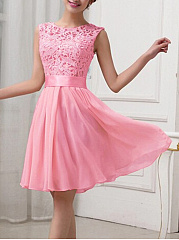 Round-Neck-Patchwork-Hollow-Out-Plain-Chiffon-Skater-Dress