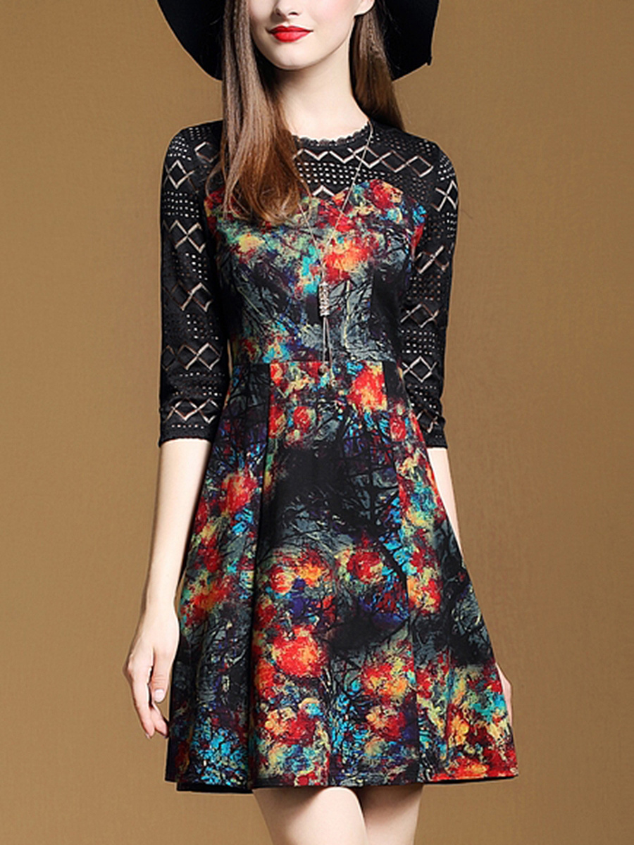 Round Neck  Decorative Lace Patchwork  Printed  Polyester Skater Dress