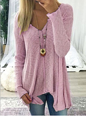 V-Neck  Asymmetric Hem  Plain  Long Sleeve Sweaters Pullover