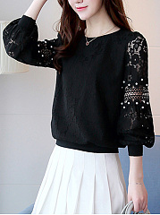 Lace-Beading-Hollow-Out-Plain-Bishop-Sleeve-T-Shirt