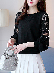 Lace Beading Hollow Out Plain Bishop Sleeve T-Shirt