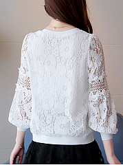 Autumn  Lace  Round Neck  Beading  Hollow Out Plain  Bishop Sleeve  Long Sleeve Blouses