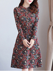 Round Neck  Decorative Button  Floral Printed Skater Dress