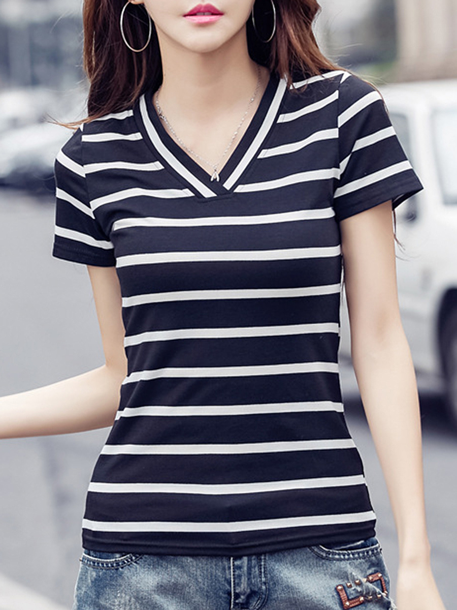Fitted V-Neck Striped Short Sleeve T-Shirt