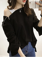 Autumn Spring  Polyester  Women  Open Shoulder  Zips  Plain Long Sleeve T-Shirts