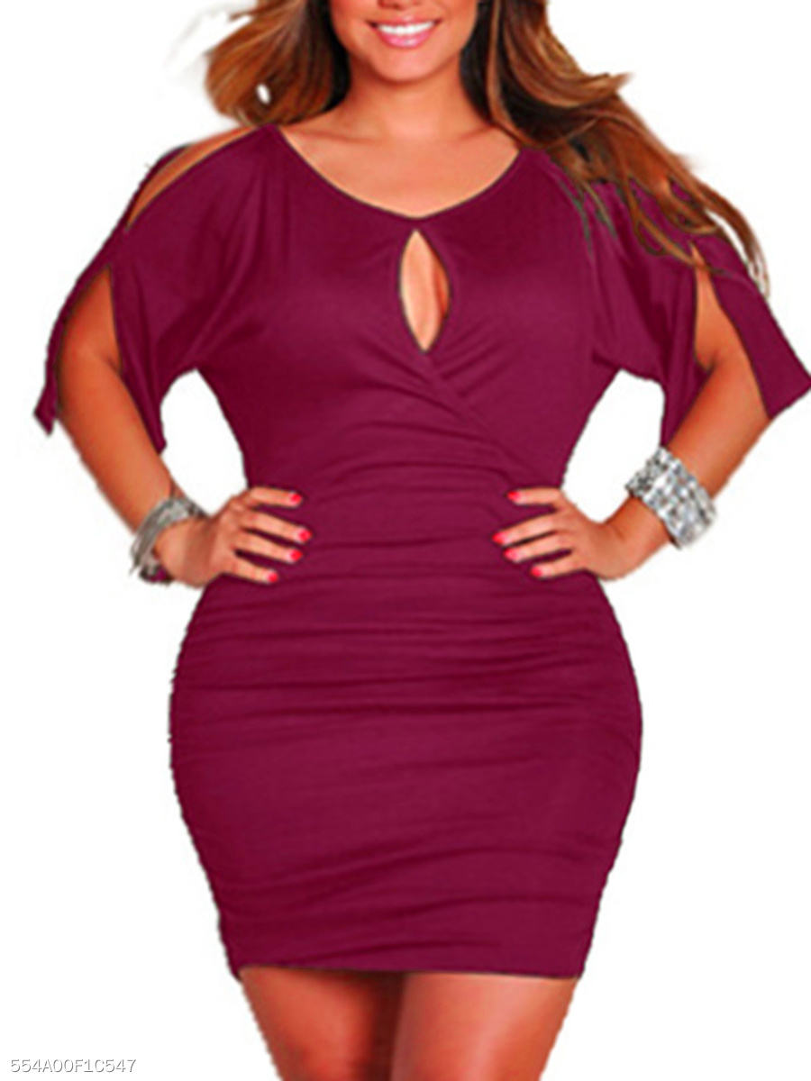 Keyhole Plain Open Shoulder Plus Size Bodycon Dress With Split Sleeve