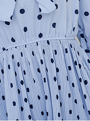 Tie Collar  Bowknot Elastic Waist Ruched  Plain Printed Skater Dress