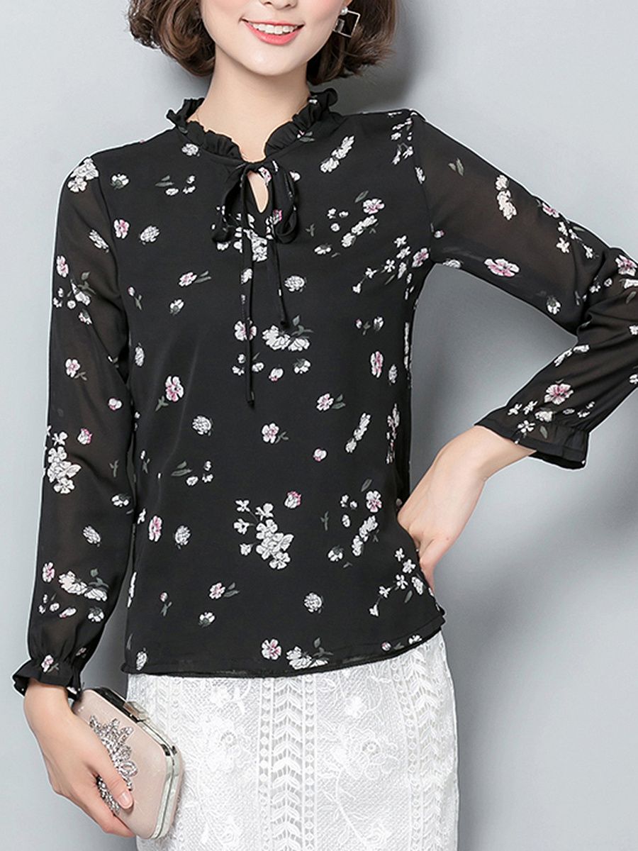 Tie Collar Keyhole Tiny Flower Printed Long Sleeve T-Shirt