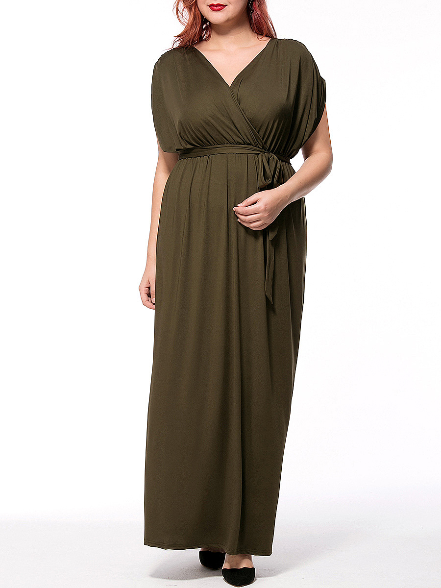 V-Neck Solid Empire Plus Size Maxi Dress