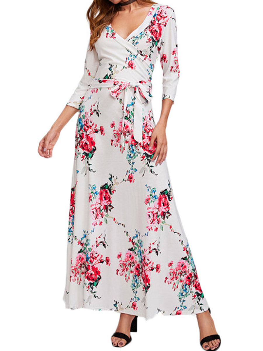 Deep V-Neck Floral Printed Maxi Dress