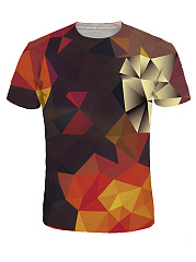 Crew Neck 3D Geometric Printed Color Block T-Shirt