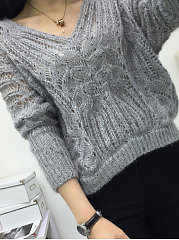 V-Neck  See-Through  Back Hole  Jacquard  Batwing Sleeve  Long Sleeve Pullover