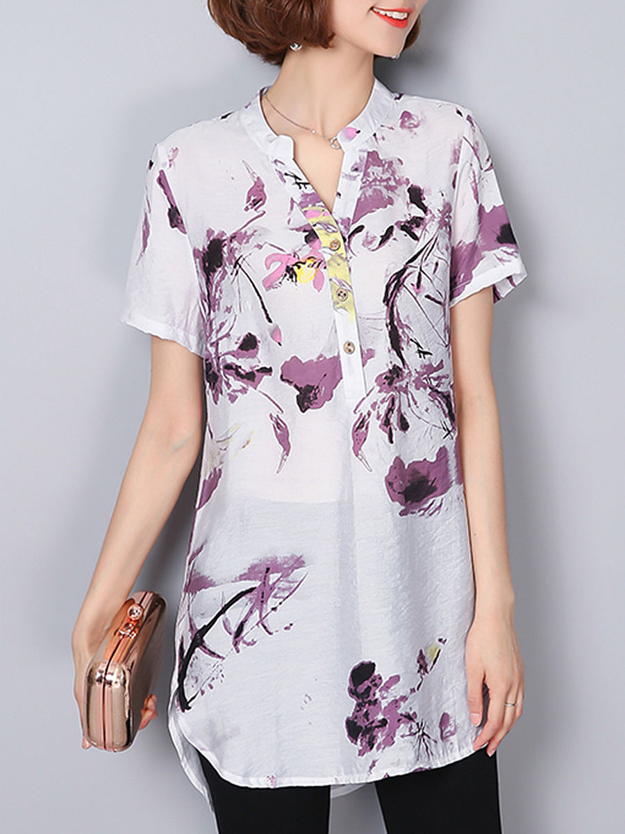 Split Neck  Abstract Print Short Sleeve T-Shirt