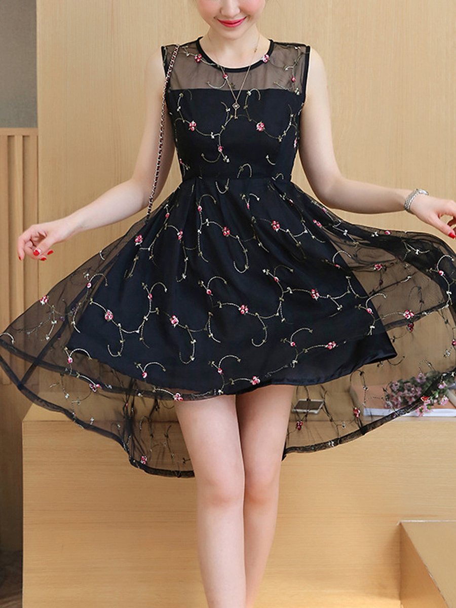 Embroidery High-Low Round Neck See-Through Skater Dress