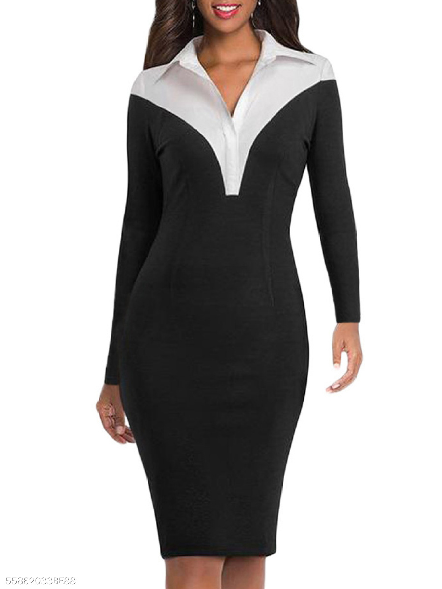 Fold-Over Collar  Patchwork  Bust Darts  Colouring Bodycon Dress