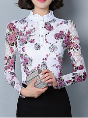 Band-Collar-Lace-Hollow-Out-Blouse-In-Floral-Printed