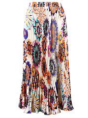 Colorful-Printed-Elastic-Waist-Pleated-Midi-Skirt
