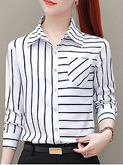Autumn Spring Winter  Women  Striped  Long Sleeve Blouses