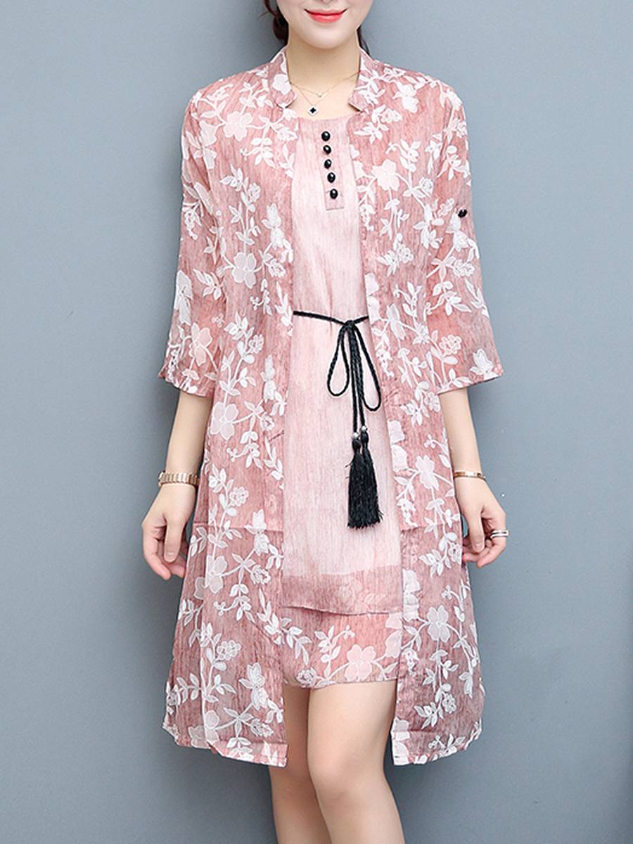 Charming Printed Belt Chiffon Two-Piece Shift Dress