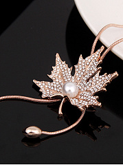Rhinestone Maple Leaf Pendant Long Necklace