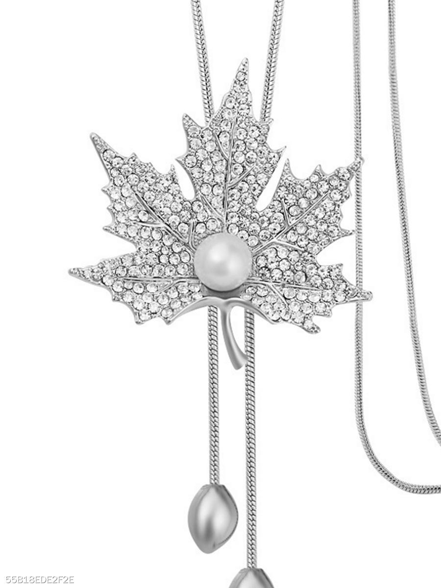 Rhinestone maple leaf pendant long necklace fashionmia rhinestone maple leaf pendant long necklace rhinestone aloadofball Images