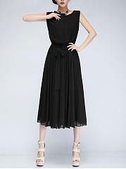 Round Neck  Bowknot  Plain  Chiffon Swing Charming Maxi Dress