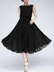 Round-Neck-Bowknot-Plain-Chiffon-Swing-Charming-Maxi-Dress