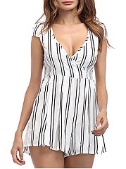 Backless  Vertical Striped Jumpsuits