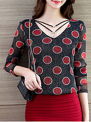 Autumn Spring  Spandex  Women  V-Neck  Polka Dot Long Sleeve T-Shirts