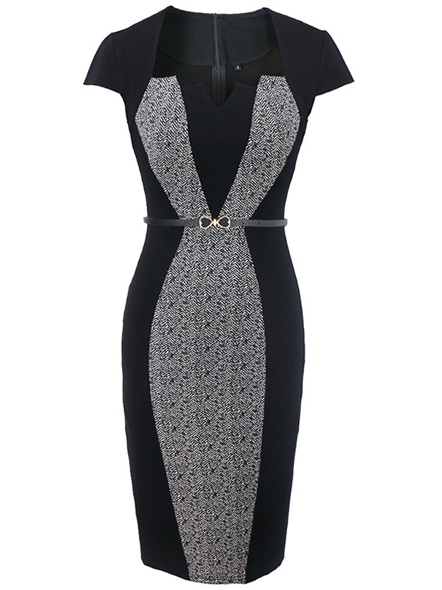 Graceful Split Neck Printed Belt Slit Bodycon Dress