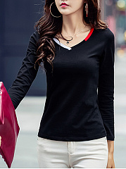 Fitted V-Neck Contrast Trim Long Sleeve T-Shirt